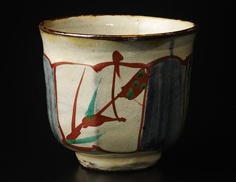 琉球窯面取赤繪茶碗