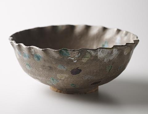 銀彩輪花鉢