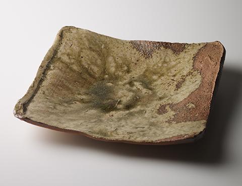 伊賀釉四方平鉢