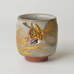 色繪金銀彩花鳥図盃