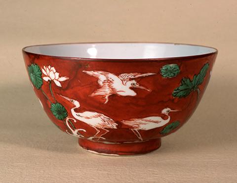 赤絵蓮鷺之鉢