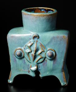 青釉印紋貼付扁壷