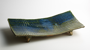 織部釉長板鉢