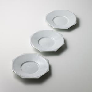 白磁八角中皿 五客