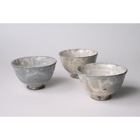 「No.100 粉引唐津汲出碗 五客  / A set of 5 cups, Kohiki-karatsu」の写真 その1