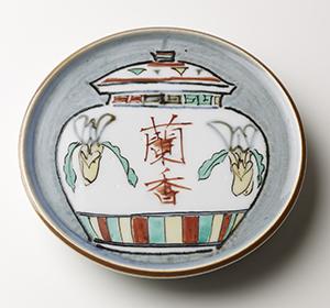 色繪壷蘭香陶板