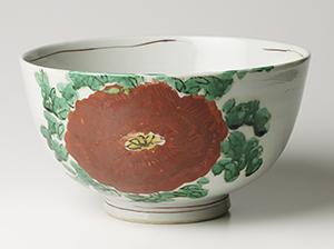 赤絵牡丹鉢