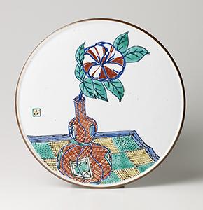 色繪 捻徳利ニ椿 飾皿