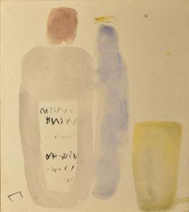 色紙 ビール瓶とグラス