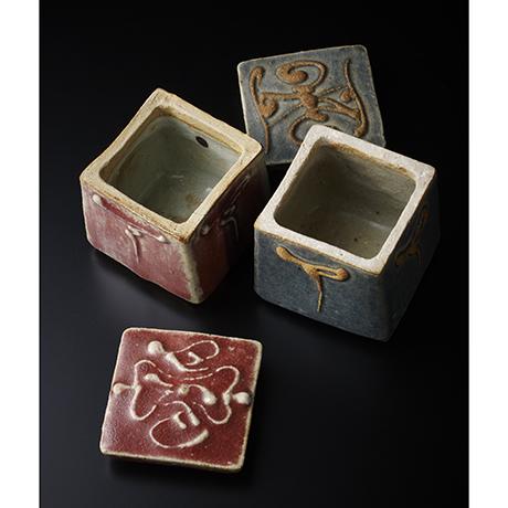 「No.13 河井寛次郎 呉須辰砂蓋物一対 / KAWAI Kanjiro A pair of boxes Underglazed blue & Copper red glazed」の写真 その3