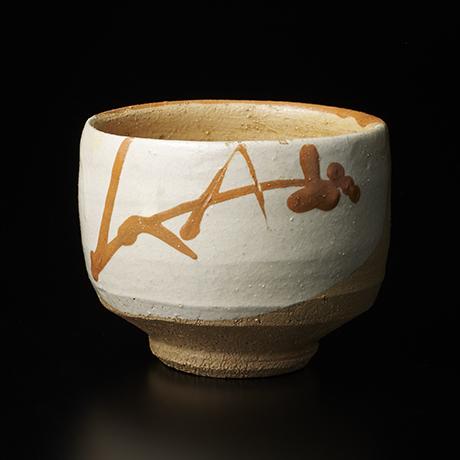 楽釉筒描茶碗