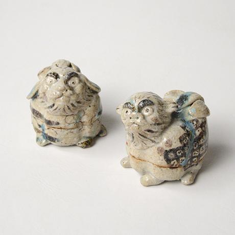 「No.35 弥七田織部獅子香合 / Incense container, Yashichida-oribe, Lion shaped」の写真 その8