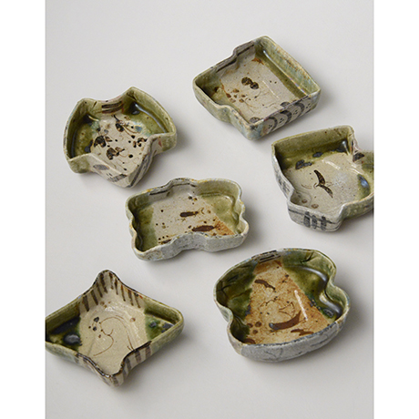 「No.47 織部小向付揃 六 / A set of 6 small dishes, Oribe」の写真 その1