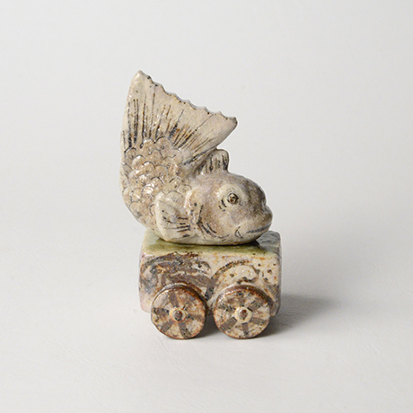 「No.59 鳴海織部鯛車香合 / Incense container, Narumi-oribe, Red snapper finial」の写真 その3