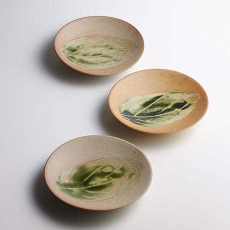 「No.18 魯山人 この葉平向 六 / Rosanjin A set of 6 plates, Leaf motif」の写真 その1