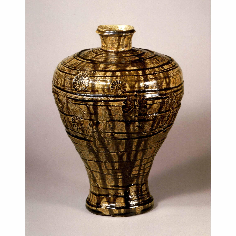 飴釉印花瓶子