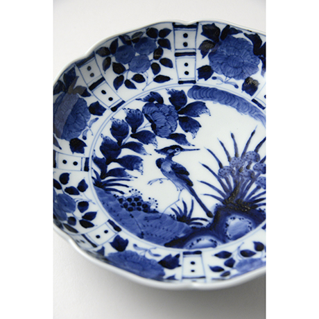 「No.14 芙蓉手花鳥文輪花七寸皿 / Dish with flower and bird design, Sometsuke」の写真 その3