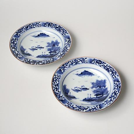 「No.17 唐草山水文リム六寸皿 / Dish with arabesque and landscape design, Sometsuke」の写真 その1