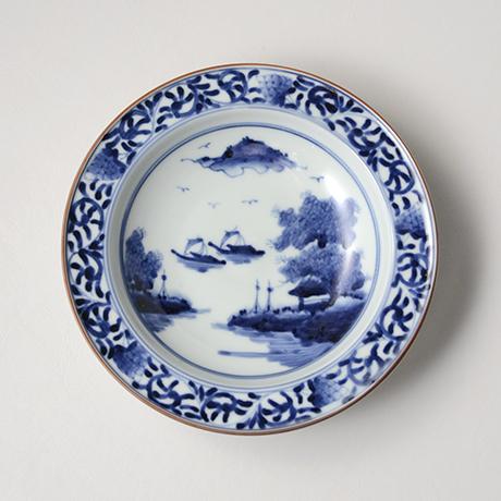 「No.17 唐草山水文リム六寸皿 / Dish with arabesque and landscape design, Sometsuke」の写真 その2