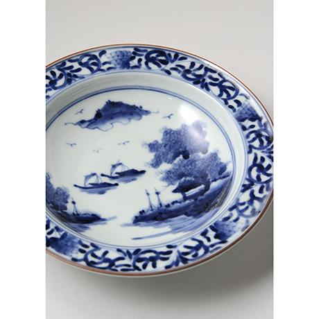 「No.17 唐草山水文リム六寸皿 / Dish with arabesque and landscape design, Sometsuke」の写真 その4