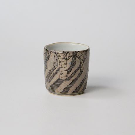 "「No.20 色絵銀彩酒呑 「由幾のかげ乃図」  Sake cup, Iro-e with silver, ""A Snow Scene""」の写真 その1"