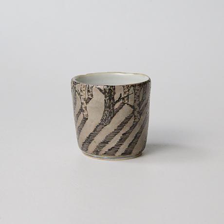 "「No.20 色絵銀彩酒呑 「由幾のかげ乃図」  Sake cup, Iro-e with silver, ""A Snow Scene""」の写真 その2"