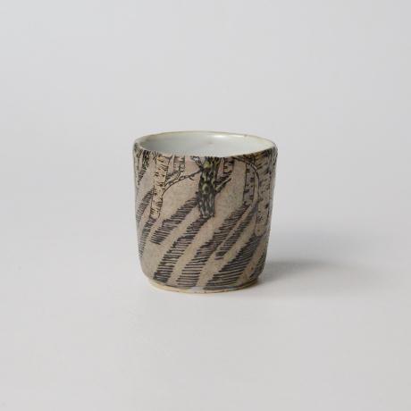 "「No.20 色絵銀彩酒呑 「由幾のかげ乃図」  Sake cup, Iro-e with silver, ""A Snow Scene""」の写真 その4"