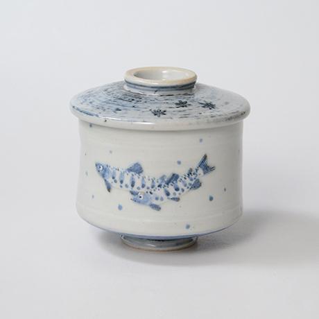 「No.40 染付魚文蓋物  Bowl with lid, Sometsuke」の写真 その1