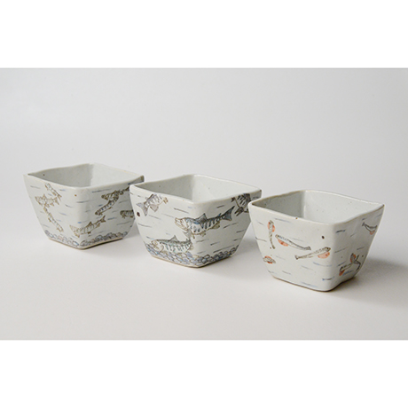 "「No.23 色絵小鉢 六「秋あじ川にもどる」  A set of six bowls, Iro-e, ""Mother-river Homing horse mackerel""」の写真 その1"