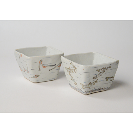 "「No.23 色絵小鉢 六「秋あじ川にもどる」  A set of six bowls, Iro-e, ""Mother-river Homing horse mackerel""」の写真 その3"