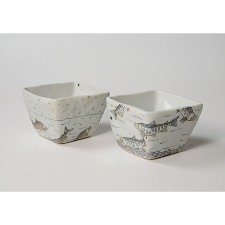 "「No.23 色絵小鉢 六「秋あじ川にもどる」  A set of six bowls, Iro-e, ""Mother-river Homing horse mackerel""」の写真 その4"