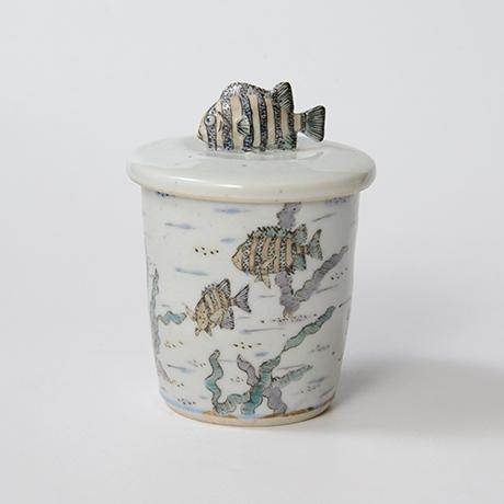 「No.25 色絵ふた付ひれ酒呑  Sake cup with lid, Iro-e」の写真 その1
