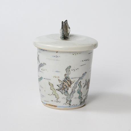 「No.25 色絵ふた付ひれ酒呑  Sake cup with lid, Iro-e」の写真 その2