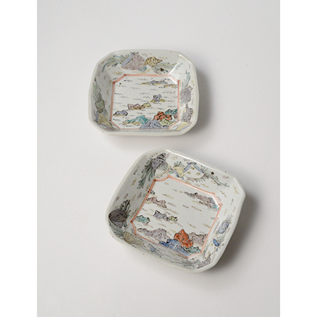 """「No.26 色絵四方小皿 二 「満潮干潮の図」  A set of two dishes, Iro-e, """"High Tide and Low Tide""""」の写真 その1"""