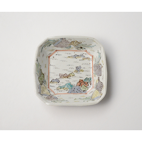 """「No.26 色絵四方小皿 二 「満潮干潮の図」  A set of two dishes, Iro-e, """"High Tide and Low Tide""""」の写真 その3"""