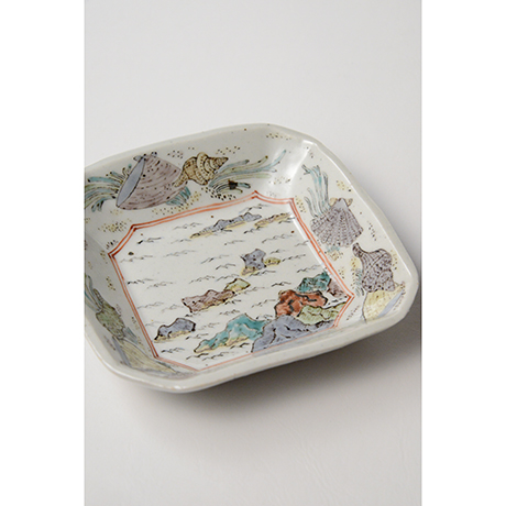"""「No.26 色絵四方小皿 二 「満潮干潮の図」  A set of two dishes, Iro-e, """"High Tide and Low Tide""""」の写真 その4"""