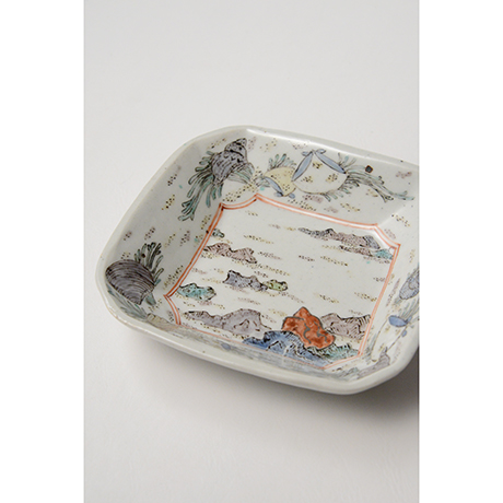 """「No.26 色絵四方小皿 二 「満潮干潮の図」  A set of two dishes, Iro-e, """"High Tide and Low Tide""""」の写真 その5"""