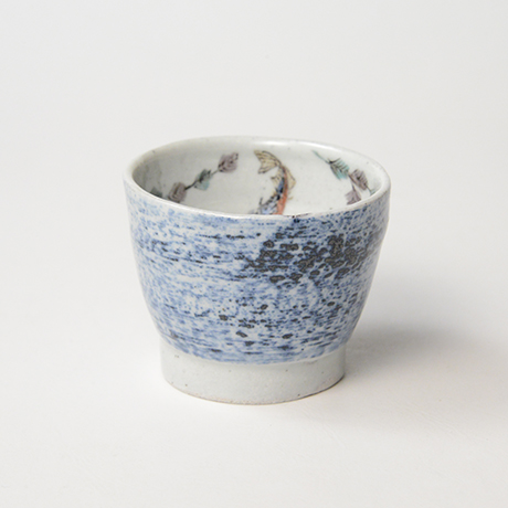 "「No.27 色絵汲出碗 五 「イトヨ泳がす図」 A set of five tea cups. Iro-e, ""Three-spined Sticklebacks Swimming""」の写真 その2"