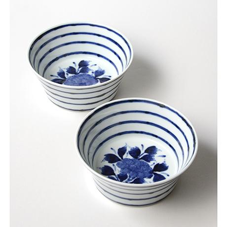 「No.32 横縞牡丹文向付  /   Dish with peony design, Sometsuke」の写真 その1