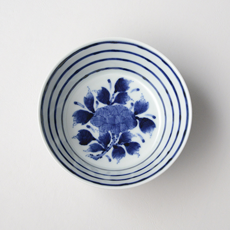 「No.32 横縞牡丹文向付  /   Dish with peony design, Sometsuke」の写真 その3