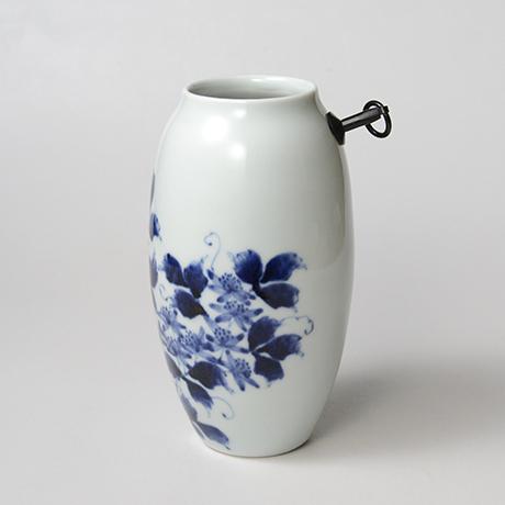 「No.36 蔓花文掛け花入  /   Hanging flower vase with vine and flower design, Sometsuke」の写真 その2
