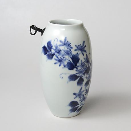 「No.36 蔓花文掛け花入  /   Hanging flower vase with vine and flower design, Sometsuke」の写真 その3