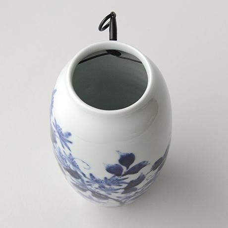「No.36 蔓花文掛け花入  /   Hanging flower vase with vine and flower design, Sometsuke」の写真 その5