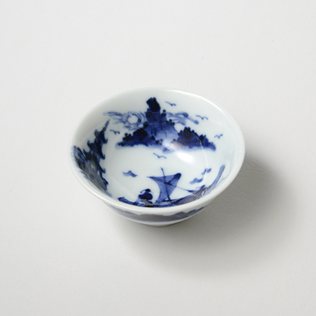 「No.48 船人山水図盃  /   Sake cup with man and landscape design, sometsuke」の写真 その1