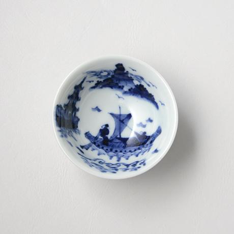 「No.48 船人山水図盃  /   Sake cup with man and landscape design, sometsuke」の写真 その2