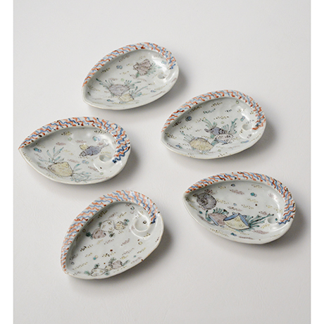 「No.5 色絵あわび小皿 五 A set of five ear shell shaped dishes, Iro-e」の写真 その1