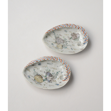 「No.5 色絵あわび小皿 五 A set of five ear shell shaped dishes, Iro-e」の写真 その3