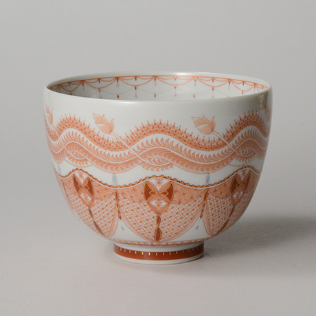 「HP36 見附正康 赤絵細描葉紋茶碗 / MITSUKE Masayasu Chawan, Aka-e」の写真 その1