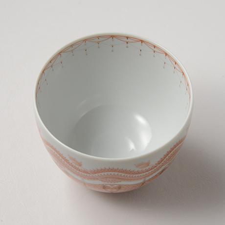 「HP36 見附正康 赤絵細描葉紋茶碗 / MITSUKE Masayasu Chawan, Aka-e」の写真 その3