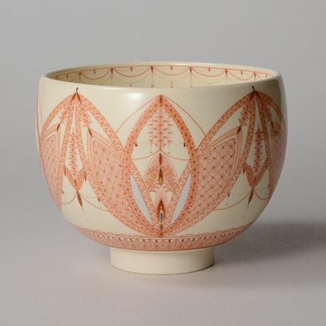 「HP37 見附正康 赤絵細描小紋茶碗 / MITSUKE Masayasu Chawan, Aka-e」の写真 その1